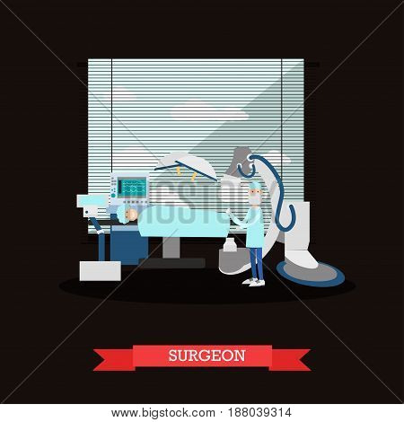 Vector illustration of doctor surgeon and patient in operating room. Surgery room interior and surgery equipment. Flat style design.