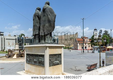 SKOPJE, REPUBLIC OF MACEDONIA - 13 MAY 2017: Saints Cyril and Methodius Monument and Filip II square in Skopje, Republic of Macedonia