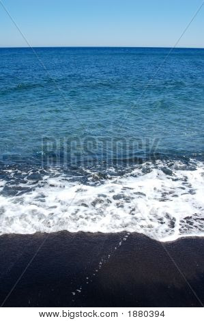 Black Beach In Greece