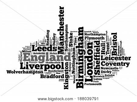 Localities in England word cloud concept over white background