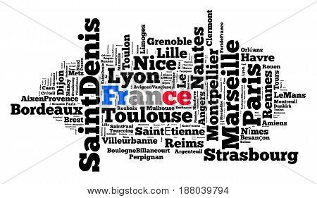 Localities in France word cloud concept over white background
