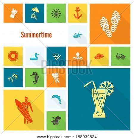 Summer and Beach Simple Flat Icons, Travel and Vacation. Vector