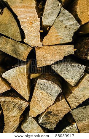 Natural Wooden Background, Closeup Of Chopped Firewood.