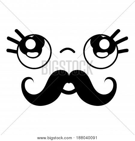 kawaii cute thinking face with mustache, vector illustration