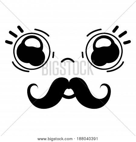 kawaii cute surprised face with mustache, vector illustration