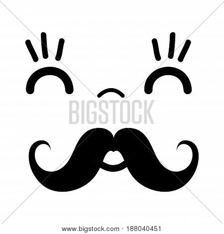 kawaii cute happy face with mustache, vector illustration