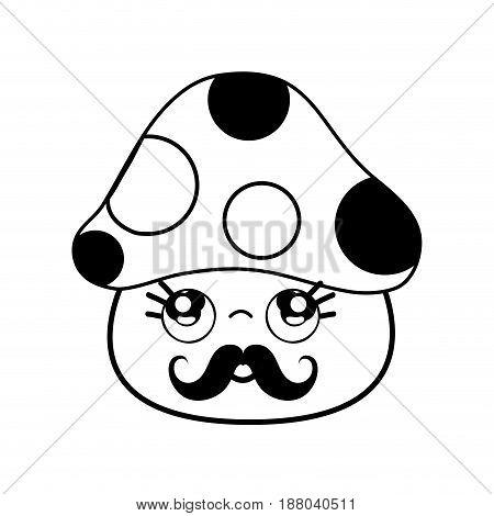 kawaii cute thinking fungus with mustache, vector illustration
