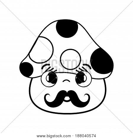 kawaii cute shy fungus with mustache, vector illustration