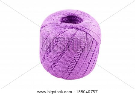 ball in the form of a ball from threads for knitting of pink color on a white background