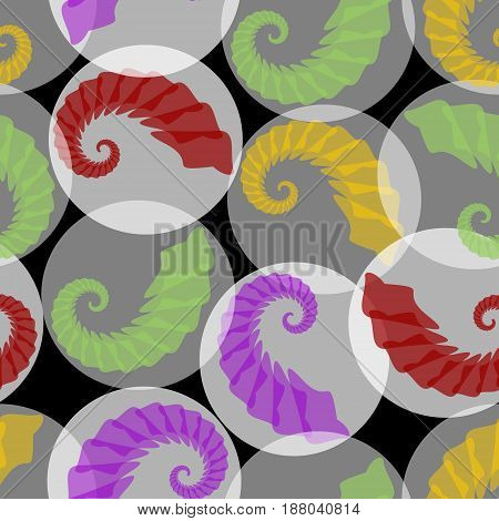 Abstract seamless phantasy background with grubs in translucent circles