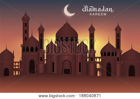 Arab night holy city mosque. Ramadan Kareem greeting card. Vector illustration