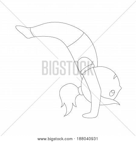 The outlines of a cartoon girl in different yoga poses are simple and airy and also gymnastic exercises