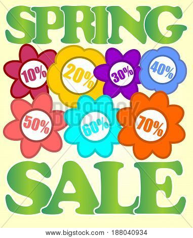 Spring sale billboard with colorful flowers and percent labels in cheerful colors