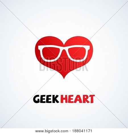 Geek logo design template with heart in glasses. Vector illustration.