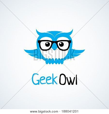 Geek logo design template with owl in glasses. Vector illustration.