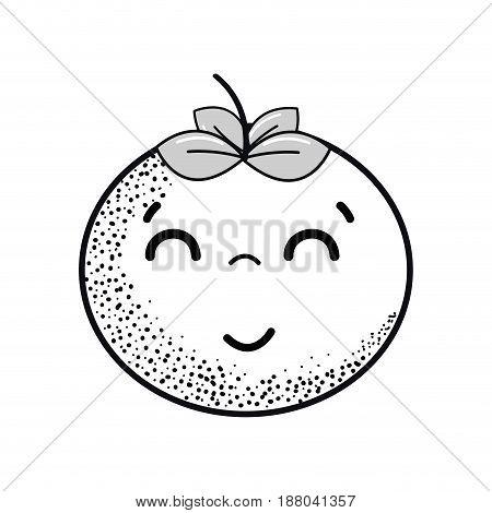 hand drawn kawaii nice happy tomato vegetable, vector illustration