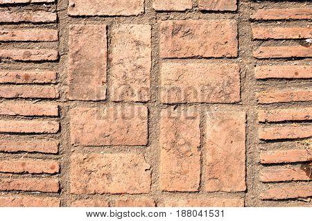 Brick Block Paving Stone Floor Texture. Square Shape Pavement Patio