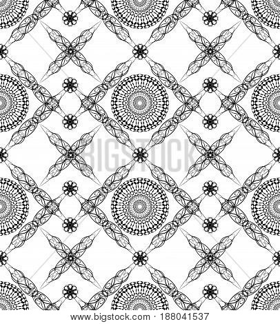 Rhomboid composed seamless background with fine black and white art deco patterns
