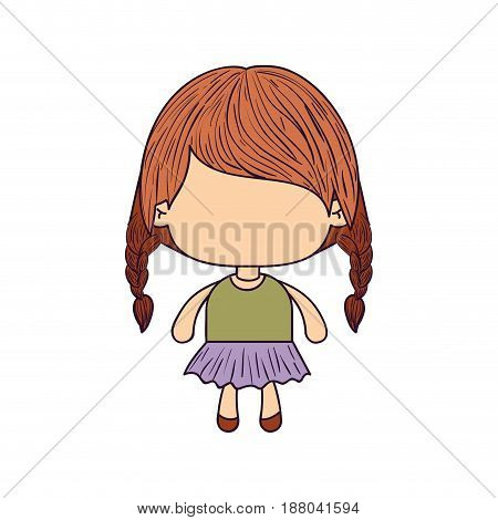 colorful caricature of faceless little girl with braided hair medium height vector illustration