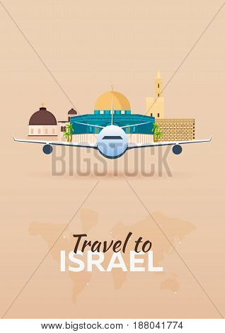 Travel To Israel. Airplane With Attractions. Travel Vector Banners. Flat Style.
