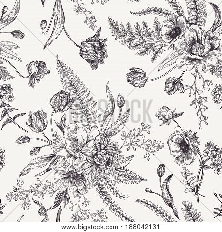 Seamless floral pattern with bouquets of spring flowers. Black and white vector illustration. Vintage background. Engraving. Peony ferns tulips anemones eucalyptus seeds.