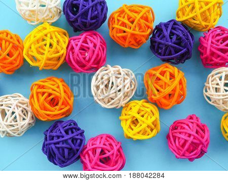a lot of colored balls for a florist as a backdrop the substrate