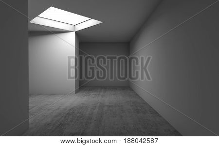 Concrete Floor, White Walls And Square Ceiling Light