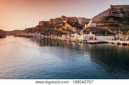 Bonifacio Port In Morning Sunlight, Island Corsica