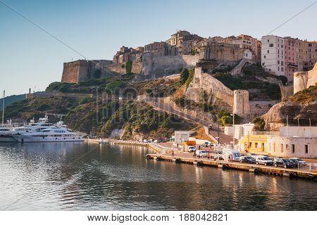 Bonifacio Port In Warm Morning Sunlight, Corsica