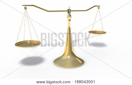 Gold Scales Isolated On The White, 3D Render