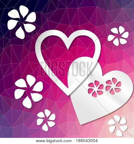 Modern deep purple decorative background with heart and flowers cut out of paper on triangle area