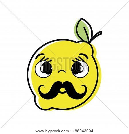 kawaii nice shy lemon fruit, vector illustration