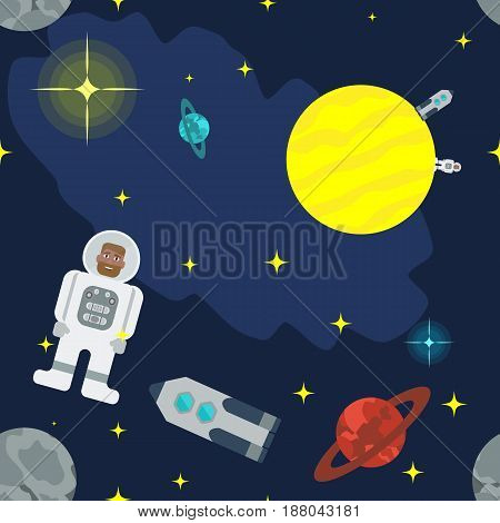 Seamless vector pattern of cosmic bodies, rockets and astronauts. Space Adventures for your design