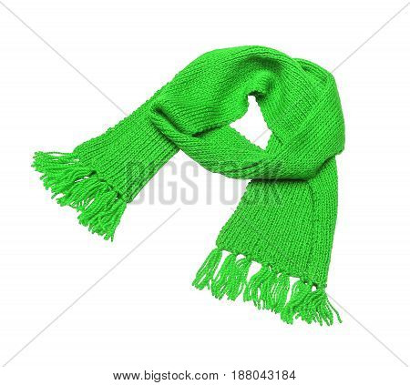 Green knitted scarf on a white background.