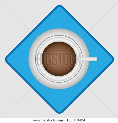 Vector illustration of a white cup with coffee on a saucer on a blue napkin with a blue border on a gray background top view