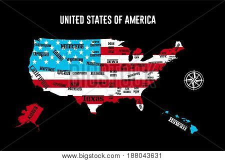 the illustration - map of the USA with all States.