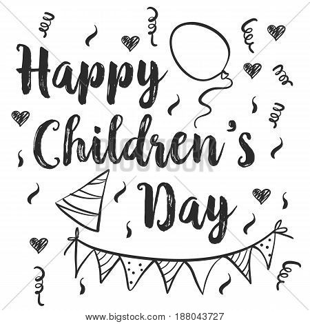 Happy childrens day doodle style vector illustration