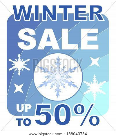 Winter sale up to 50 percent billboard in blue design with snowflakes
