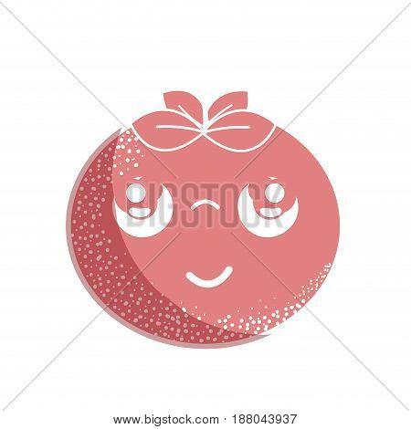 silhouette kawaii nice thinking tomato vegetable, vector illustration