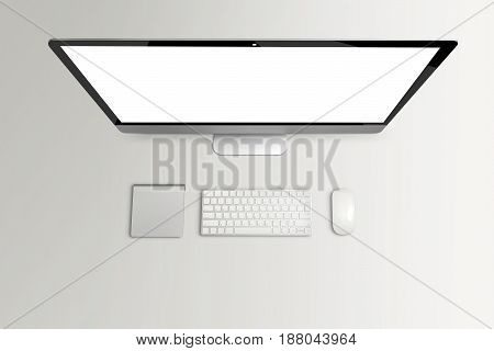 Top view of computer and keyboard mouse with blank screen on grey table Mock up template for adding your content Digital business concept. 3d rendering