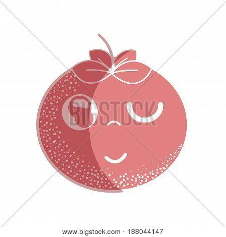 silhouette kawaii nice funny tomato vegetable, vector illustration