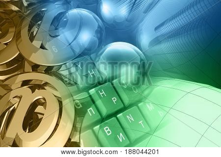 Computer background - mail signs balls keyboard and buildings toned.