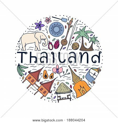 Symbols Of Thailand. Hand Drawn Design Concept With The Main Attractions Of Thailand.