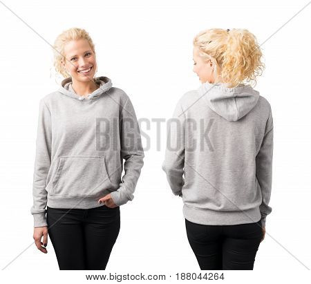Gray pullover hoodie mockup on woman front and back