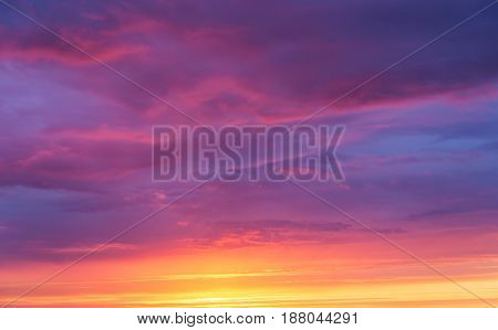 Background of a bright sunset sky with clouds