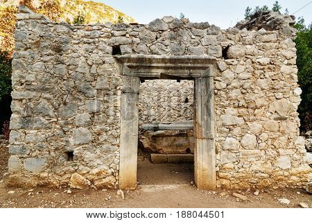 Roman Temple. Ruins Of Ancient City Olympos In Lycia. Turkey