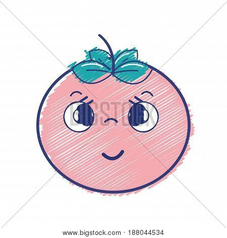 kawaii nice shy tomato vegetable, vector illustration
