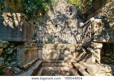 Monumental Tomb. Ruins Of Ancient City Olympos In Lycia. Turkey