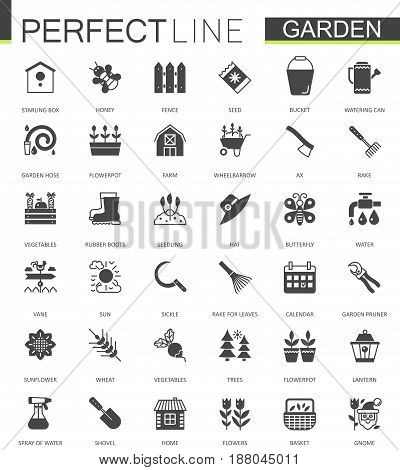 Black classic web Gardening icons set vector