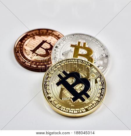 Gold Silver And Brass Bitcoin Coins